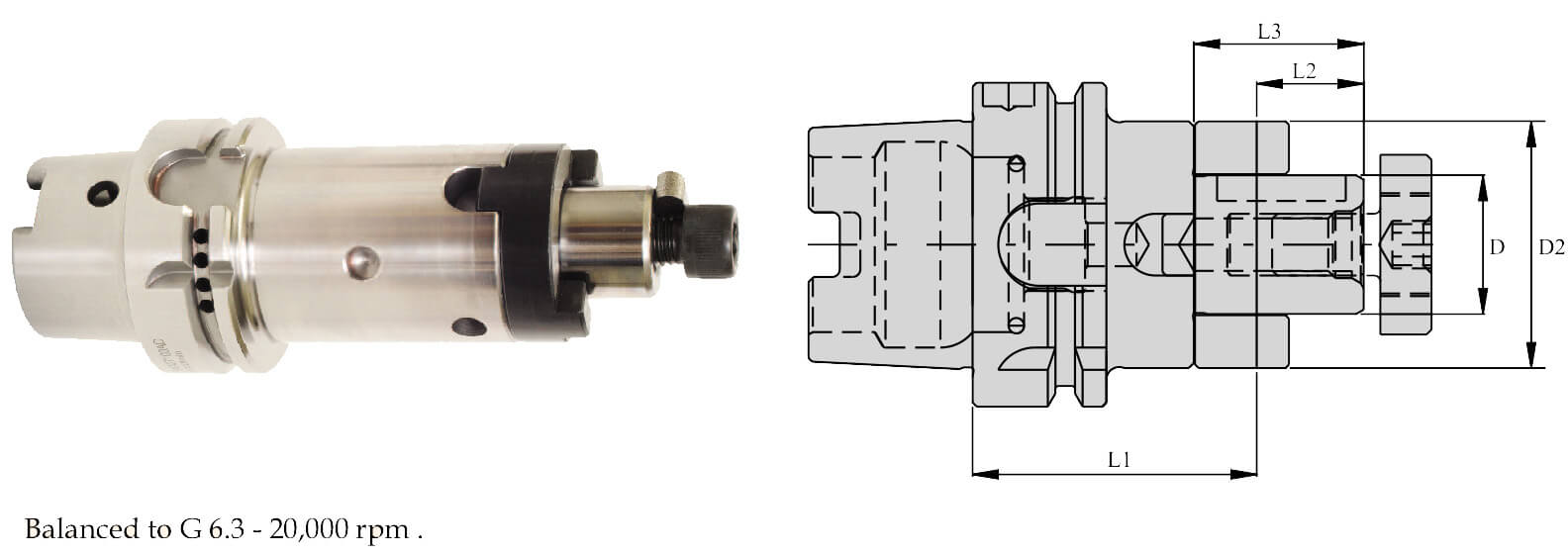 HSK-A 50 CombiShell Mill Adaptor (DIN 6358)