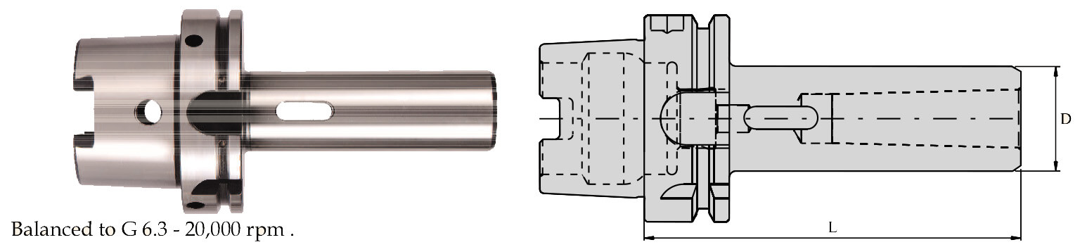 HSK-A 50 Morse Taper Adapter (DIN 6383)