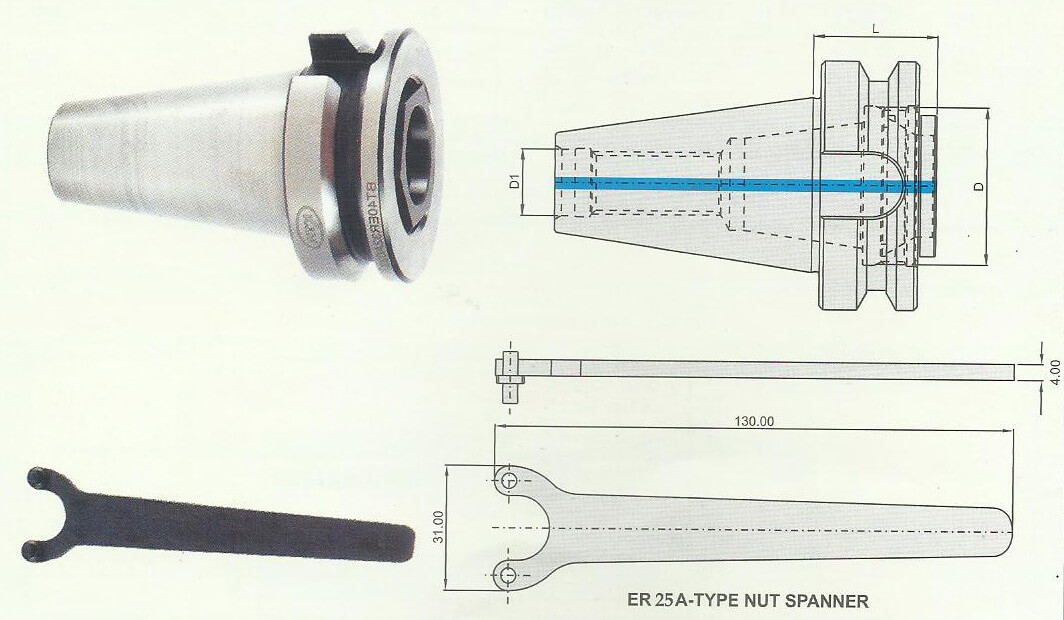 BT40 Short Length ER Chuck